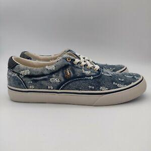 Polo Ralph Lauren Thorton Distressed Denim Blue Shoes Men's Size 9.5D New