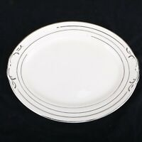 "Vintage Crown Potteries China Co. 13"" x 10"" Platter Silver Edge Pattern"