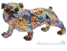 More details for groovy art coloured standing english bulldog ornament figurine dog lover gift