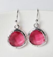 Ohrhänger Ohrringe Retro Acryl Harz Tropfen oval rund rosa pink rot silber