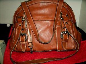 Fossil Very Nice Medium Dome Shape Tan Leather Satchel Shoulder Bag in EUC!