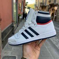 Scarpe Adidas Top Ten Bianca Alta In pelle strisce blu modello basket Retrò