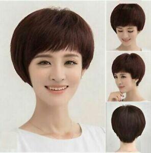 100% Human Hair! Fashion Short Dark Brown BOB Wig For Women Hair Wig