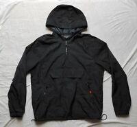 MOSSIMO Men Windbreaker Top Sports Black Shell Rain Hooded Jacket Pockets Size L