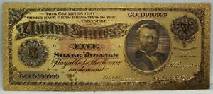1891 $5 Grant Morgan Dollar Silver Certificate 24K Gold Foil Note Bill - LG338