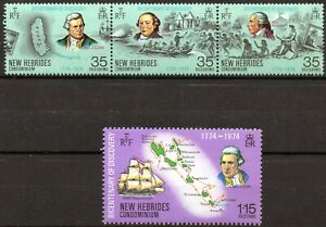 New Hebrides 1974 QEII Bicentenary of Discovery set of 4 mint stamps MNH