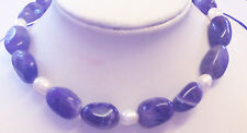 Hand made Amethist with white freshwater pearls necklace 23in