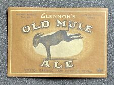 Glennon'S Old Mule Ale Bottle Label, Pittston Brewing Corp. Pittston, Pa. Irtp