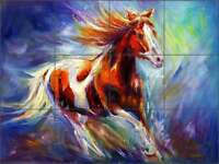Tile Mural Backsplash Kitchen Shower Ceramic Williams Horse Equine Art DWA010