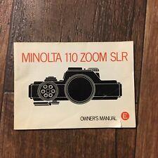 Minolta 110 Zoom Slr Camera Owner's Manual Instruction Book User's Guide 1976