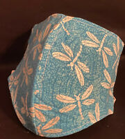 Fabric Face Mask Handmade in USA 100% Cotton Teal Dragonfly Print Washable