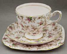 1950s Trio Tuscan 8880H Vintage Porcelain Cup Saucer Plate China Pink Brown Tea