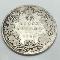 1913 Canada 25 Twenty Five Cents Quarter Canadian Circulated Coin E038