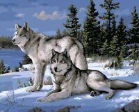 Malen nach Zahlen mit Holzrahmen Leinwand Malset Wölfe  Malvorlagen mit Pinsel