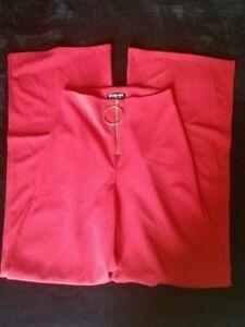 Fashion Nova Victoria High Waisted Split Wide Leg Dress Pants Red Size Small