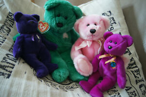 4 Teddy ty Beanie Buddies Baby grün lila Princess violett pink Millenium Douglas