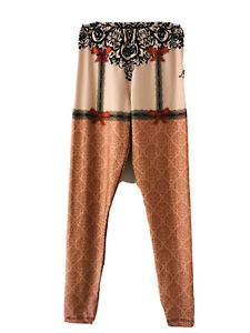 Ladies Stay Up Stocking Design Leggings Size 6-8