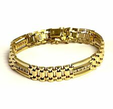 "14k yellow gold 1.0ct I1 H mens diamond tennis bracelet 8 1/2"" gents vintage"
