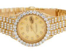 Ladies Rolex 18K Yellow Gold 26MM Datejust President 69178 Diamond Watch 13.75Ct