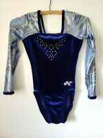 Alpha Factor Gymnastics Leotard Adult X-small AXS Long Sleeve Blue Rhinestone