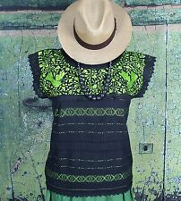 Black & Lime Green Hand Embroidered Blouse Mitla Oaxaca Mexico, Hippie Cowgirl