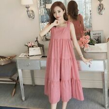 Sleeveless Plaid Maternity Dress Sexy Pleated Clothing For Pregnant Women Casual