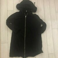 R13 Hooded Sweatshirt Cardigan Size S Black Long French Terry