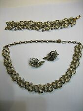 Vintage Signed CORO Gold and Silvertone Leaf Bracelet, Earrings & Necklace Set