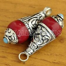 Red Coral 2 Charms Drop Pendant Silver Plated Ethnic Tribal Tibet Nepal CH369