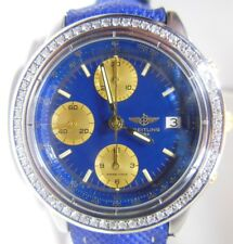 BREITLING CHRONOMAT MEN B13050 BLUE MEN'S WITH GENUINE DIAMONDS, PAPERWORK, BOX