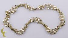PRECIOSO 14k Oro Amarillo Multi Cadena Collar de perlas Italiano Vintage