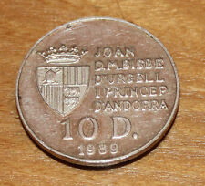 piece argent joan d.m.bisse d urgell i princep  d andorra 10 d1989