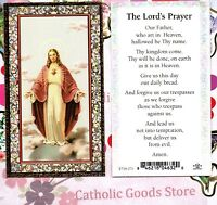 Sacred Heart of Jesus - Lord's Prayer (Our Father) - Gold Trim paper Holy Card