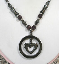 "HEMATITE CATS EYE BEADED HEART IN CIRCLE PENDANT NECKLACE MAGNETIC CLASP 18""LONG"