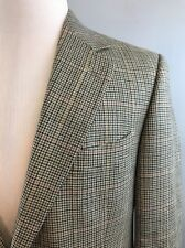 Brooks Brothers Mens Beige Houndstooth 2 Btn Wool Silk Linen Blazer 42 Reg Italy