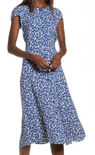 New $218 Reformation Fauna Front Button Midi Dress Blue White Size 4