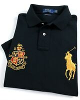 Ralph Lauren Polo Shirt Men's Custom Slim Fit Polo Black Big Pony RRP £129