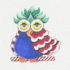 OWL BABY Colorful Patchwork handpainted Needlepoint Ornament by Patti Mann