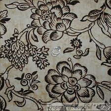 BonEful Fabric FQ Cotton Woven VTG Decor Brown Cream Tan Texture Lg Floral Toile