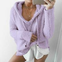 Women Knitted Pullover Coat Jacket Outerwear Fluffy Warm Sweater 7colors Hooded