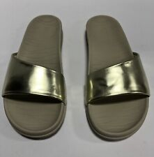 Sperry Top Sider Shell Slide Platinum/Gold Slip On Sandals, Wo's Size 7M, STS835