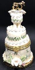 Heather Goldminc 50th Anniversary Trinket Box Tilted Wedding Cake 2002 Blue Sky