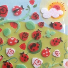 Korean 3D Dimensional Felt Fuzzy Funny Sticker World Lady bugs Rose Vine