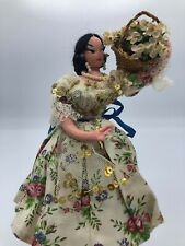 Vintage Layna Doll c.1950's Lady with a basket of Flowers 9 inches Made in Spain