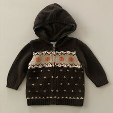 Janie and Jack 12-18 Months Baby Boy Pumpkin Fall Hooded Cardigan Sweater Jacket