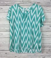 Cato Women's Teal / White Chevron Print High Low Short Sleeve Blouse Size Large