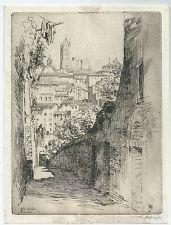 1912 SIENA VIA DU SOLEIL acquaforte Maurice Achener
