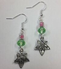 Ivy Leaf Earrings w/pink & green beads, Sterling Silver Earwires FREE SHIPPING