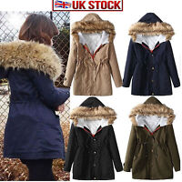New Ladies Women's Winter Warm Casual Parka Fur Jacket Hooded Coat Top outerwear