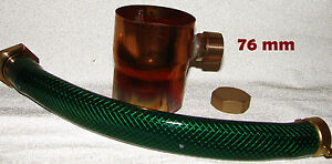Regenwassersammler 76 mm Kupfer Regensammler inkl. Schlauchanschlussset Endkappe